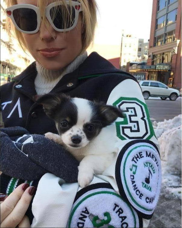 Tracy Anderson of New York wearing custom jacket by JL Custom Jackets