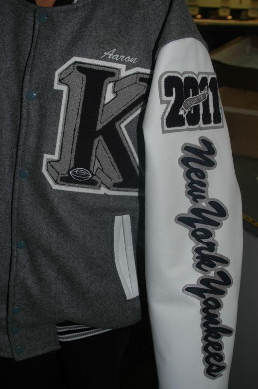 Leather sleeves with custom leather name running down the sleeve.