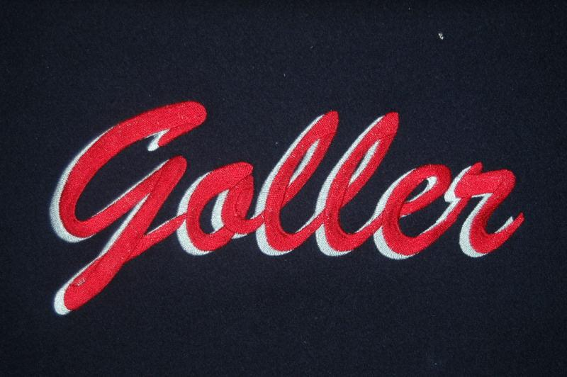 Two color embroidery last name.