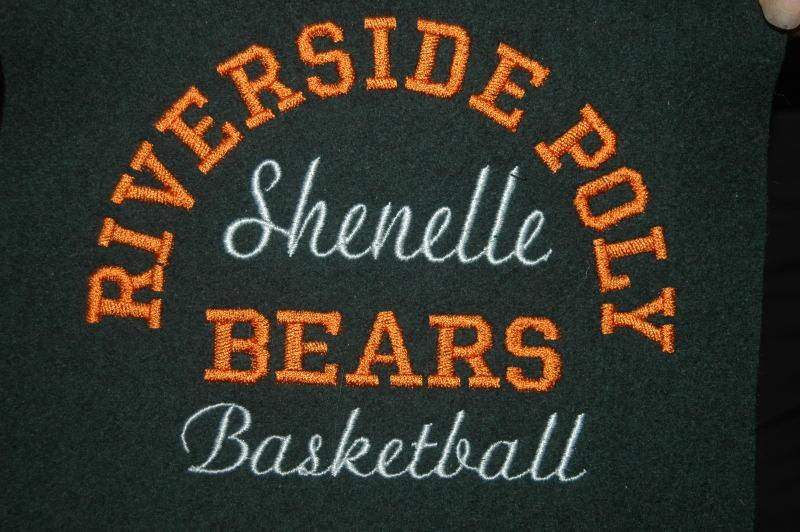 Front embroidery single color fonts.