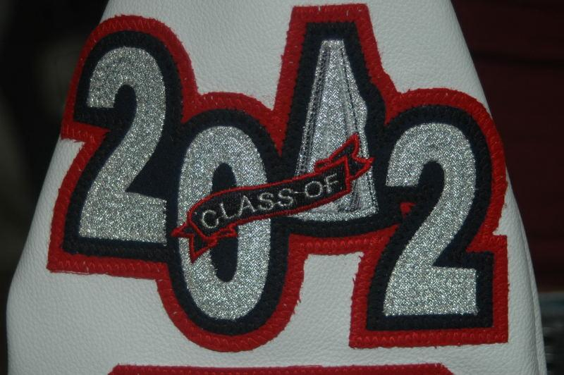 Custom megaphone metallic graduating year patch.