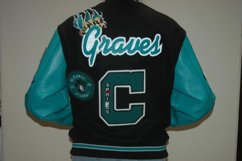 Custom jacket with custom leather sleeves.