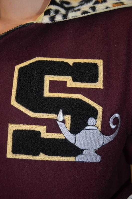Custom chenille letter with direct jacket embroidery