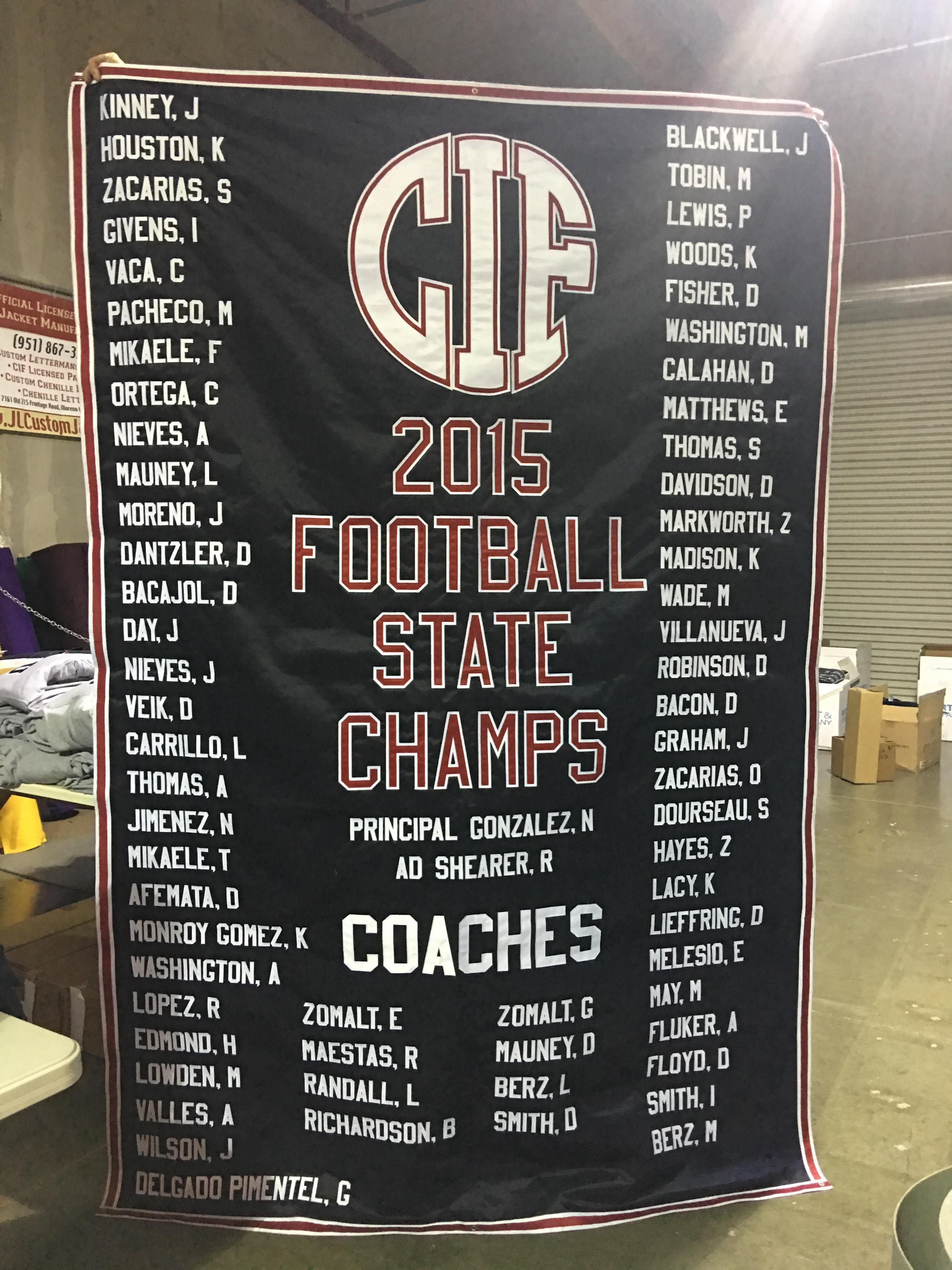 Citrus Hill High School CIF 2015 Football Champions Banner